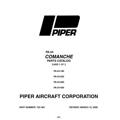 Piper Comanche Pa-24-180-400 Parts Catalog v2009 Part #752