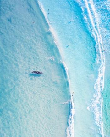 Surf Boat Wave Aerial