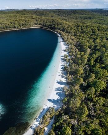 Aerial of Lake McKenzie