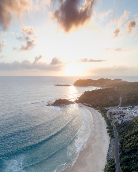 Aerial of Seal Rocks Holiday Park