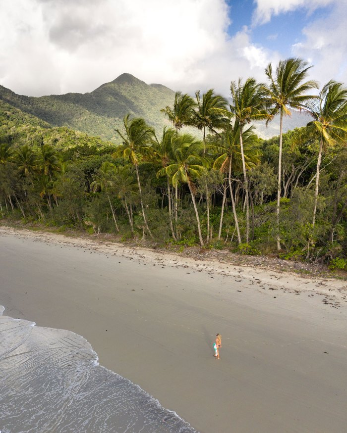 Aerial Of Girl Walking Through Daintree Rainforest