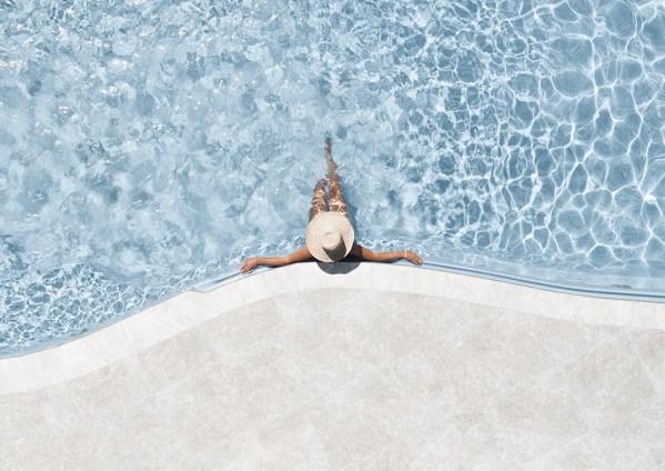 Aerial Print Of Girl In Pool