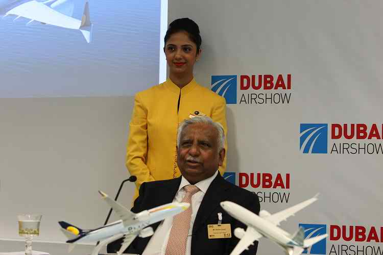 Jet Airways Founder Naresh Goyal announcing an order for 75 Boeing 737 MAX
