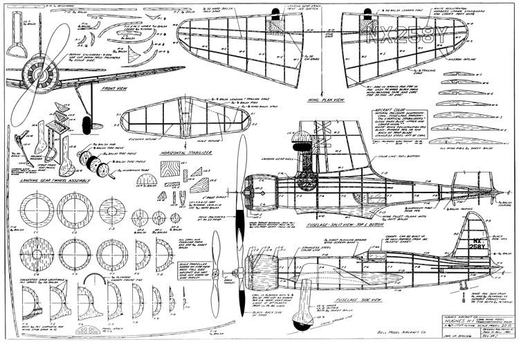 Hughes H-1 (Long wing transcontinental racer) Plans