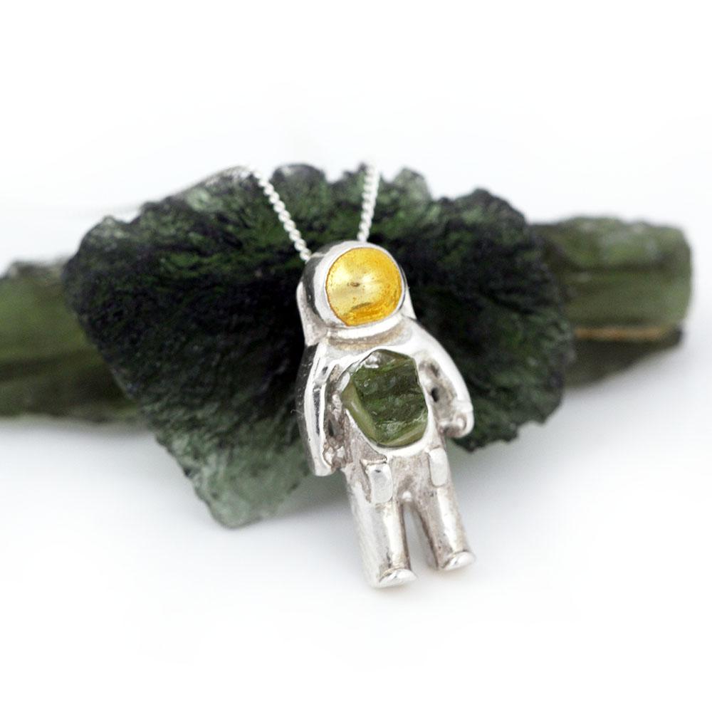 Moldavite Meteorite Astronaut Pendant