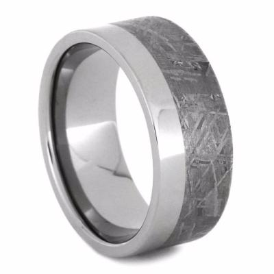 two-tone meteorite ring