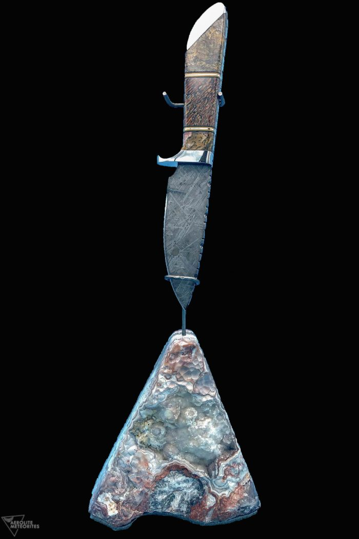 meteorite and dinosaur gembone knife