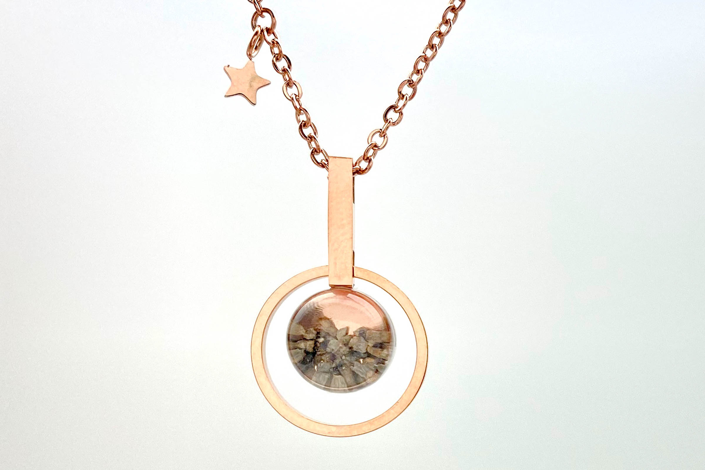 rose gold mars rock necklace