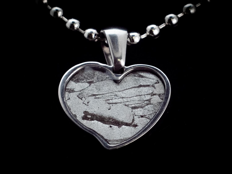 iron meteorite heart necklace