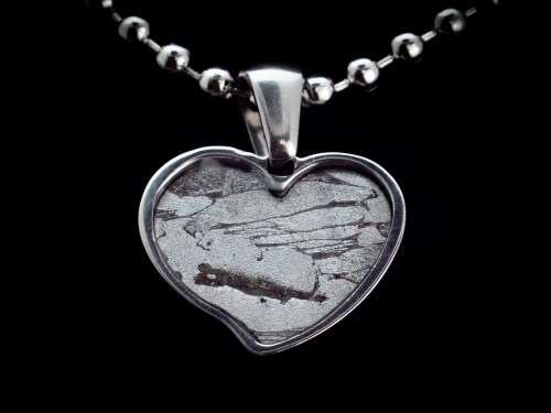 iron meteorite heart necklace