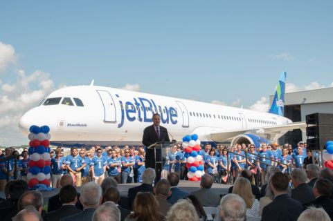U.S.-based JetBlue received the first aircraft to be produced at the Airbus U.S. Manufacturing Facility in Mobile, Alabama. The milestone handover was marked during a 25 April 2016 delivery ceremony attended by senior management from JetBlue and Airbus