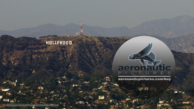 hollywood sign fly by