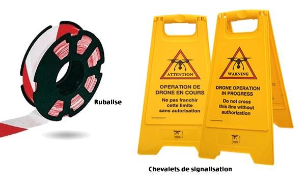 chevalets de signalisation et rubalise