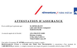 Attestation d'assurance RC pro aérienne