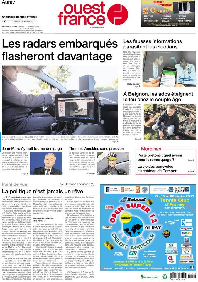 Une Ouest-France du 21 février 2017