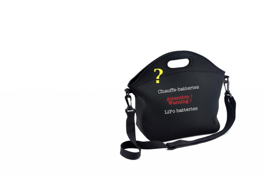 Photo: 1er prototype de sac chauffe-batteries, avec chaufferettes, pour drones