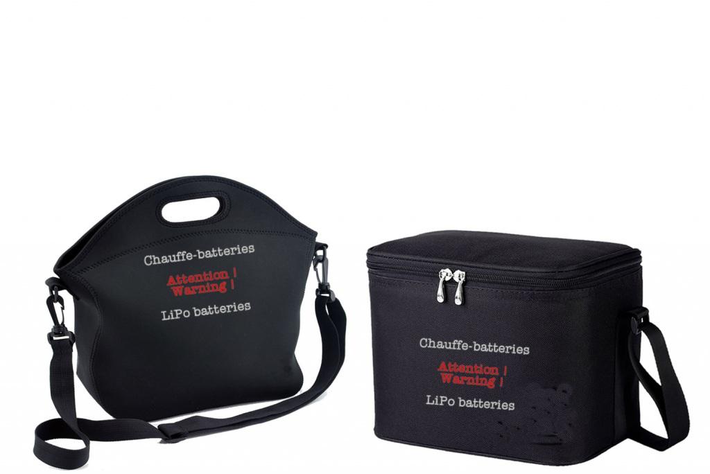 Prototypes de sacs chauffe-batteries, avec chaufferettes, pour drones