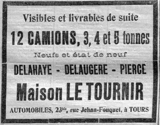 La maison Le Tournir vend des camions.