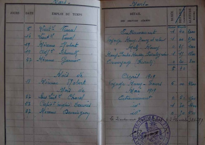 La page du carnet de vol de Clément: Many - Tours le 18 avril 1919.