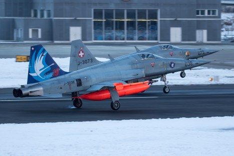 © Adam Duffield - A pair of F-5E's return back to Sion after the first mission of the day - World Economic Forum Air Policing