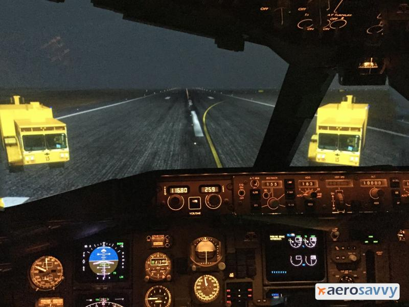 Simulator View: Runway with Firetrucks - Recurrent Training - AeroSavvy