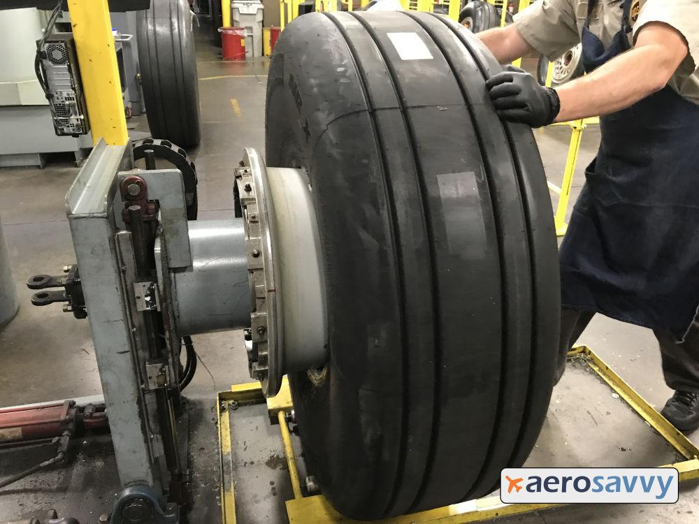 Tire pushed onto hub
