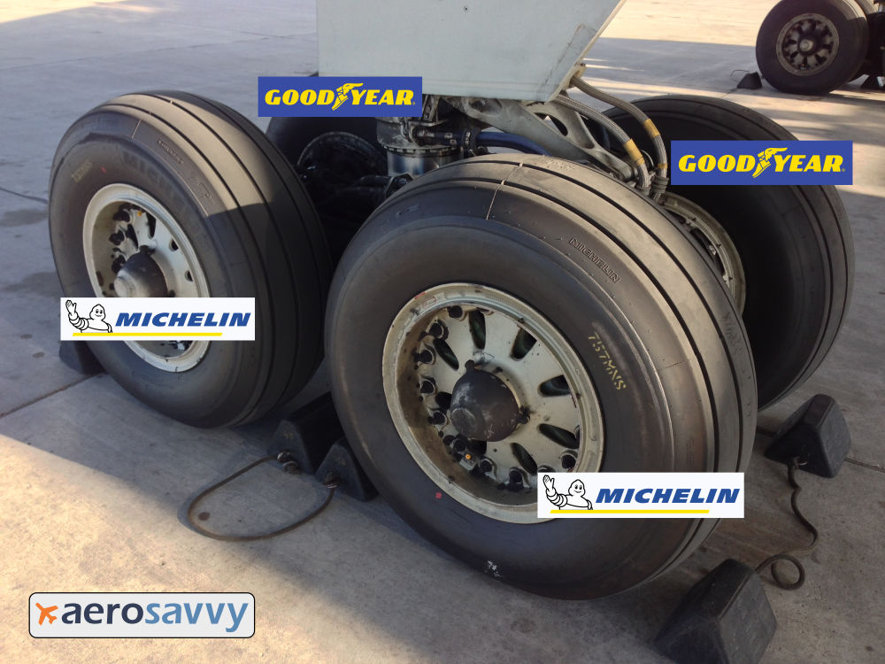 A 757 main gear bogie with four wheels. 2 wheels are Michelin, the other other are Goodyear