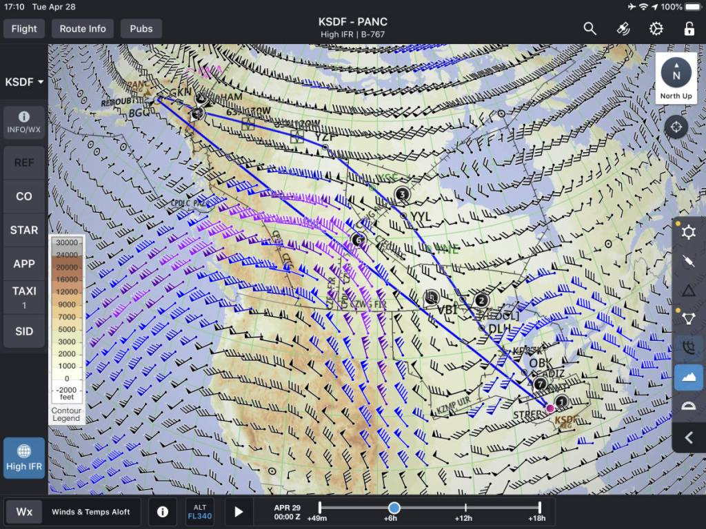 map of North America with wind barbs showing the jet stream coming down from Canada. Direct route from Louisville to Anchorage flies right into the jet stream. Alternate route avoids the jet stream.
