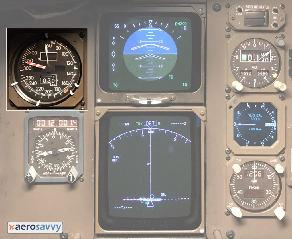 767 instrument panel with airspeed indicator highlighted.