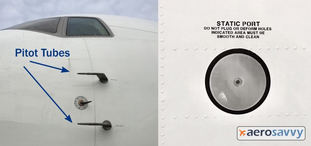 """left side of 767 nose with two el shaped pitot tubes projecting out the side of the fuselage beneath the cockpit windows. Another image shows a static port on side of fuselage (6 inch diameter shiny aluminum circle with several small holes in the center. Warning placard above says: """"Static port: Do not plug or deform holes indicated area must be smooth and clean"""")"""