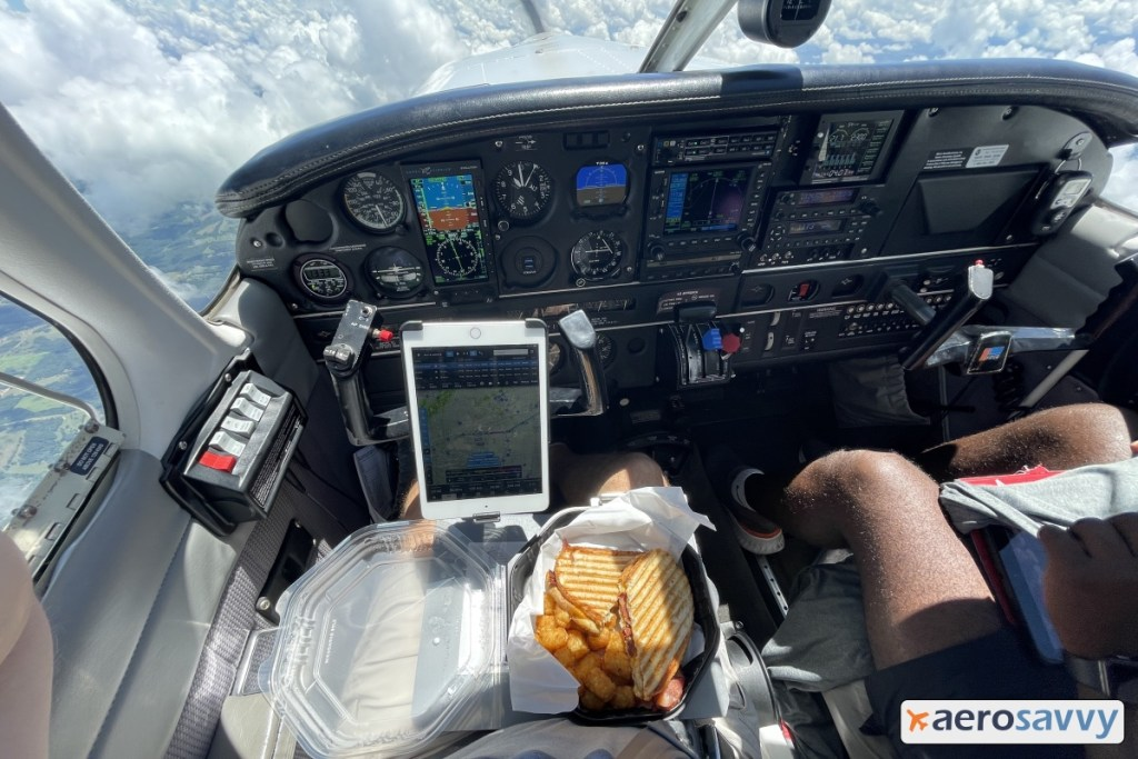 Flying the airplane -during cruise - with a take-out box in my lap. Grilled panini and tater tots.