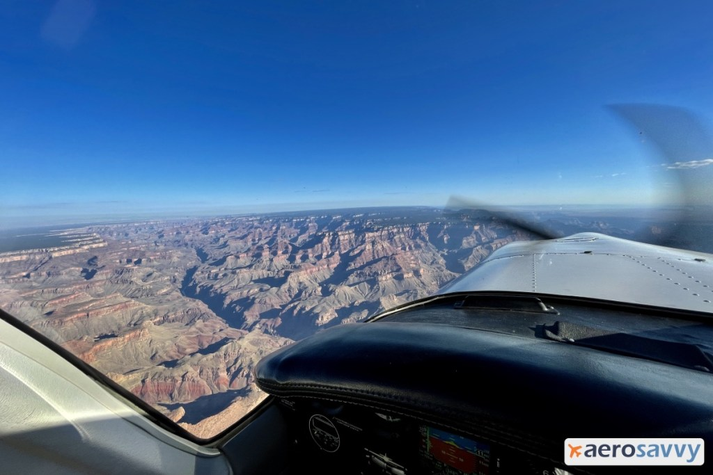 Flat land in the distance with Grand Canyon dropping down