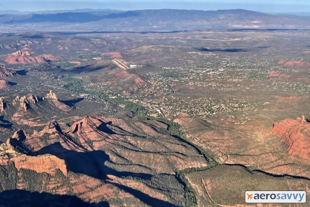 nearby Sedona with airport clearly in sight.