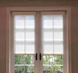 Aero Shade Co Roller Shades with Valance on French Doors in Los Angeles, CA