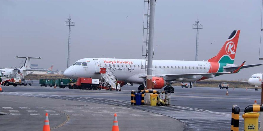 Kenya Airways plane at the Jomo Kenyatta International Airport