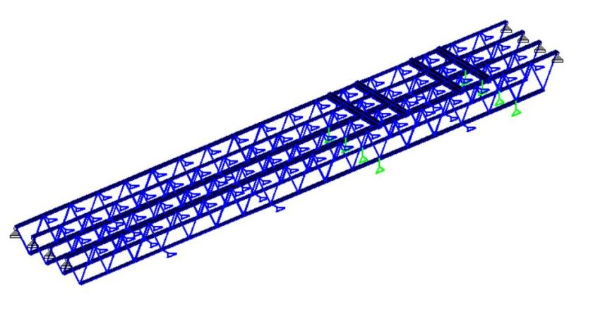 Roof Open web wood steel truss with pins