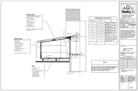 Sunroom energy efficient section elevation in Calgary