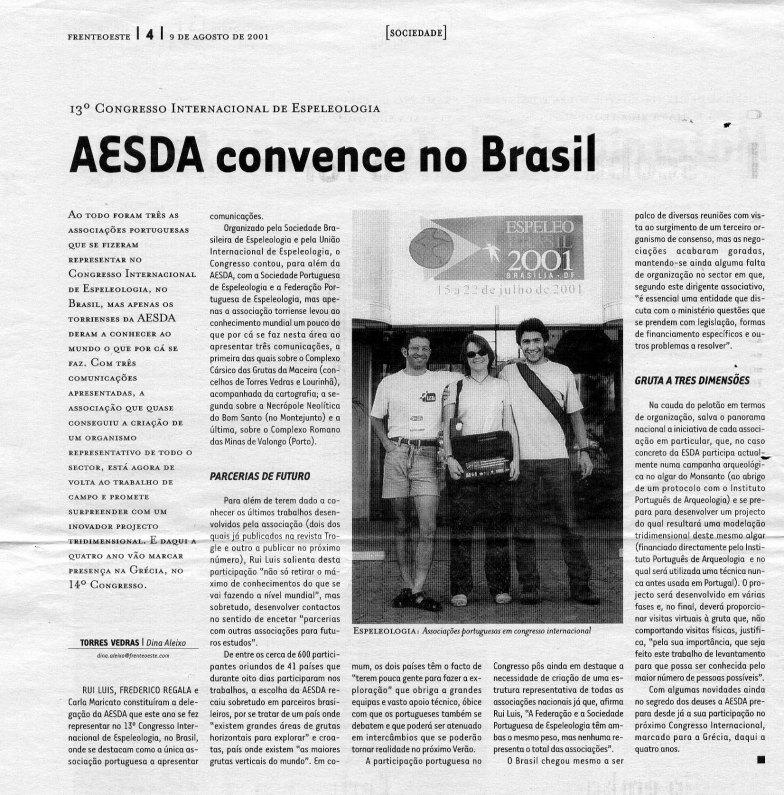 13º Congresso Internacional de Espeleologia – AESDA convence no Brasil