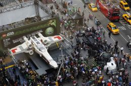 The world's largest Lego modelled after the Star Wars X-wing starfighter is seen at Times Square after being unveiled in New York May 23, 2013. REUTERS/Shannon Stapleton