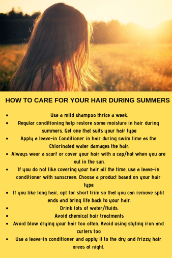 HOW TO CARE FOR YOUR HAIR DURING SUMMERS
