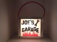 """Joe's Garage"" - Hand cut glass lettering/graphics"