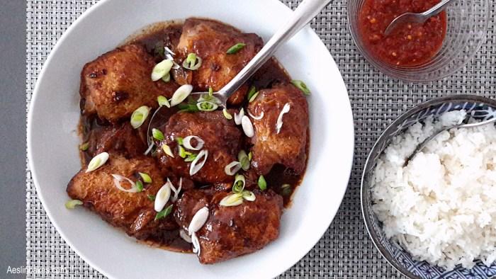 Adobong Manok with rice and garlic chili sauce