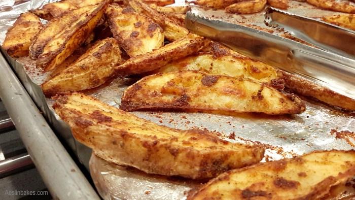 Easy Roast Potatoes still on the pan