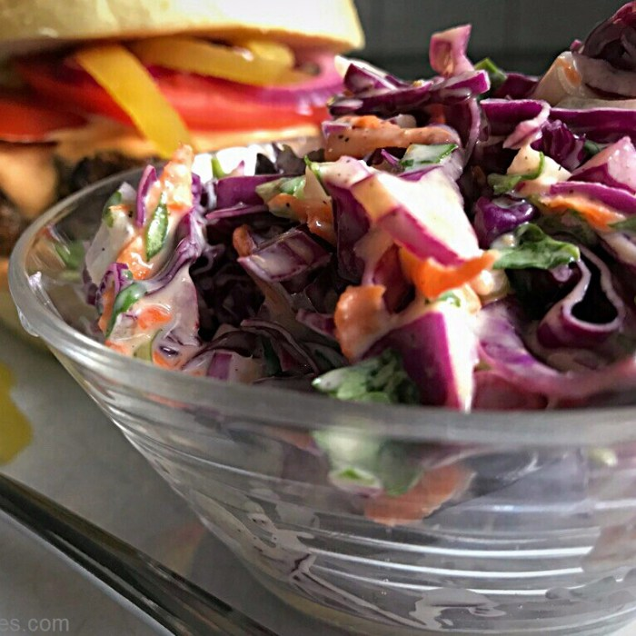 side dishes - Creamy Cole Slaw and a burger