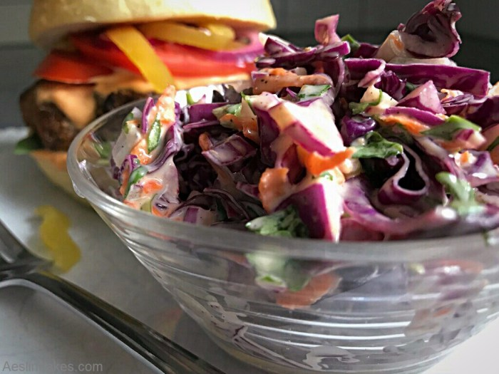Cole Slaw in front of a burger