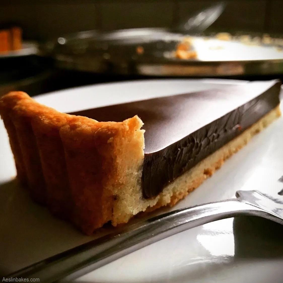 slice of chocolate tart