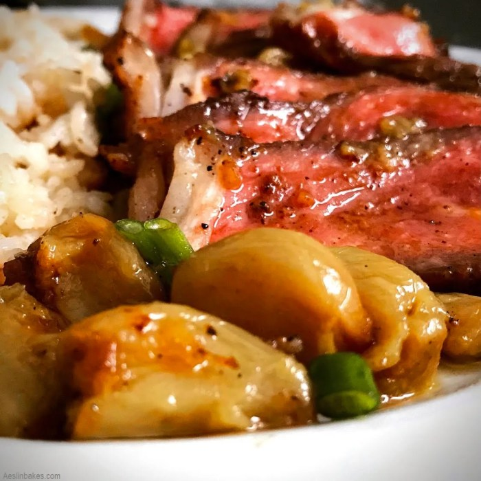 Roasted Garlic with Reverse Seared Steak