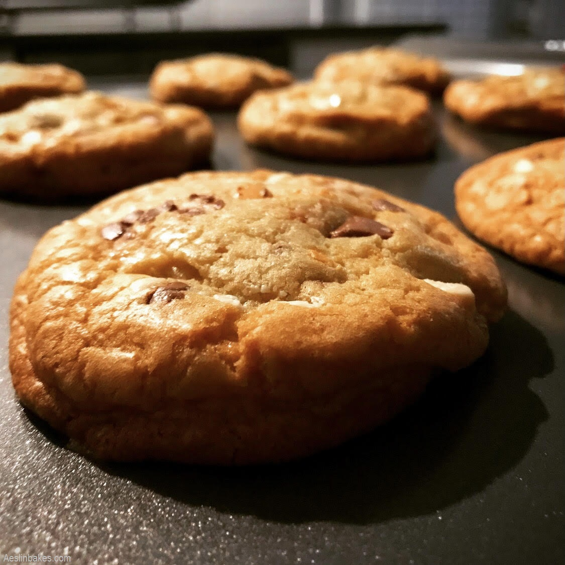 Soft & Chewy Chocolate Chip Cookies on pan front
