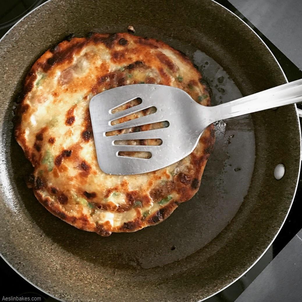 crisping the scallion pancake