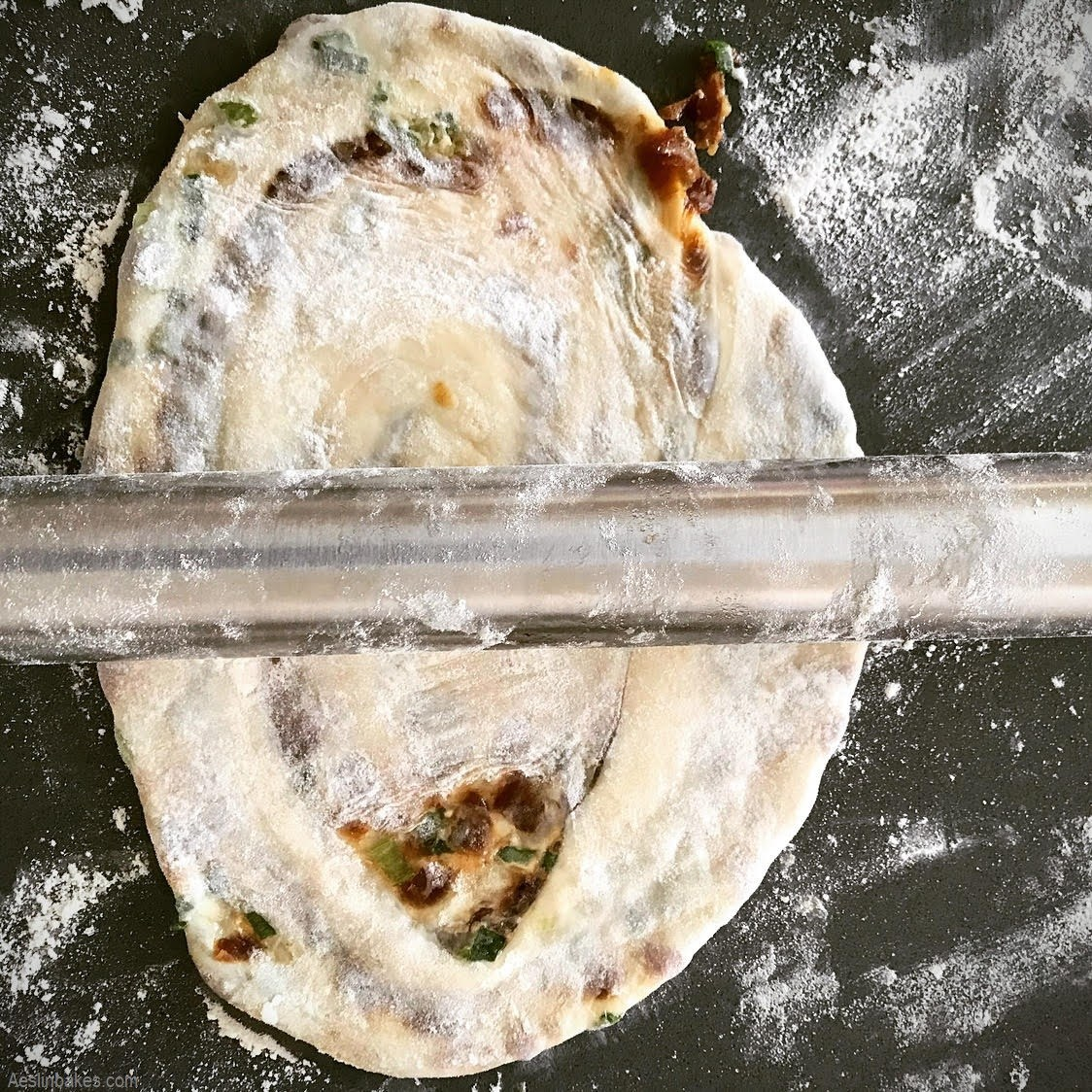 gently roll out the scallion pancake